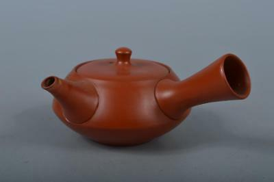 K9744: Japanese Tokoname-ware Brown pottery Pine Poetry sculpture TEAPOT Sencha