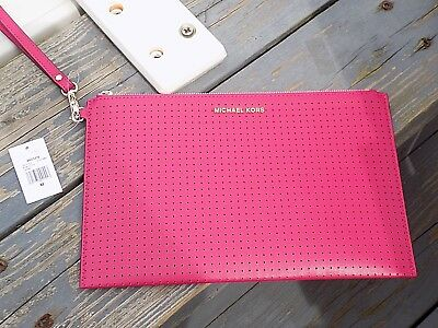 c9efbbe46c43 Authentic MICHAEL KORS MK ULTRA PINK Large Leather CLUTCH wristlet 50% off  NWT