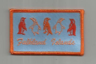 Vintage Falkland Islands Travel Patch Penguins Unsewn 3 1/4 Inches Wide