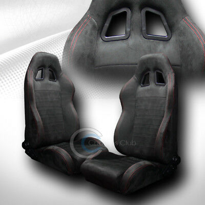 2X Sp Sport Style Blk Suede Red Stitch Reclinable Racing Bucket Seats+Slider C41
