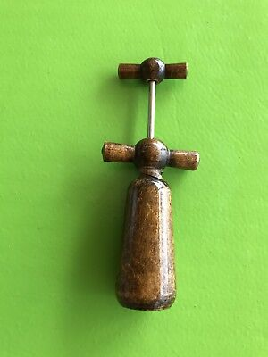 Vintage Wooden Corkscrew Double Action Wine Opener French Made in France