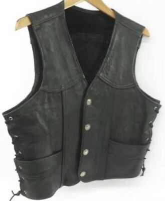 Harley Davidson Walter Dyer Black Leather Sz.L Motorcycle vest  Buffalo Nickels