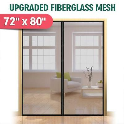 "Upgraded 72""x80"" Magnetic Screen Door for French Door, Durable Fiberglass Double"