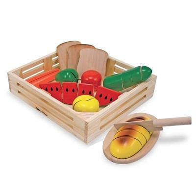Melissa  Doug Cutting Food - Play Food Set With 25+ Hand-Painted Wooden Pieces,