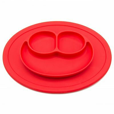 Smiling Face All-in-one Toddler Mini Silicone Placemat Baby Feeding Mat(Round)