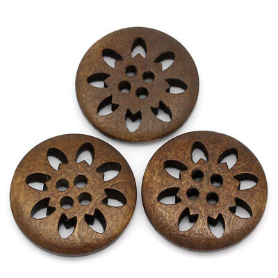 10 Brown Wooden Snowflake Flower Buttons 25mm