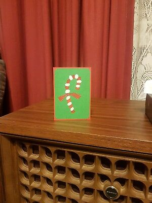 Watercolour Christmas candy cane card - Hand painted