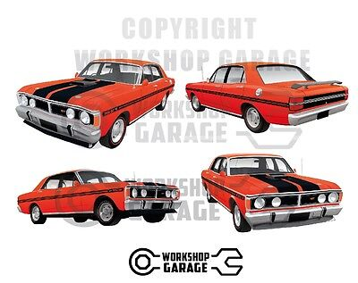 New! Collectable FORD FALCON XY GT HO 351 -  STICKER PACK RED 4 LARGE STICKERS