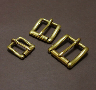 Brass Square Roller Belt Buckle Heel Bar Single Prong Pin Tongue Leather Repair