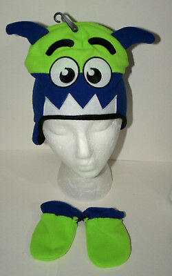 34bf09cc07231 Cute Green Toothed Monster Winter Cap Glove New Toddler Infant Mitten Hat  Set
