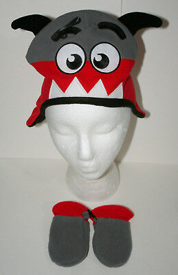 f5b3ee125f637 Cute Knit Red Toothed Monster Winter Cap Glove New Toddler Infant Mitten  Hat Set