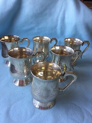 Set Of 6 Silver Plated 1/2pint Tankards Floral Pattern