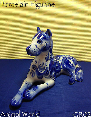 Figurine Dog Great Dane Gzhel porcelain Russian author's work hand-painted