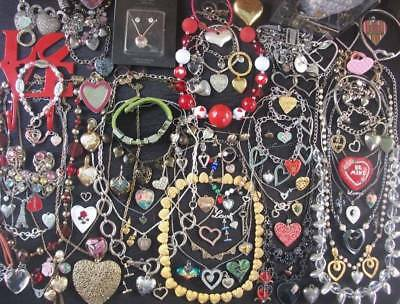 Lot Of Vintage/now Costume Jewelry 100 Hearts Love V-Day Some Gorgeous Heart Pie