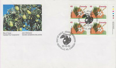 Canada #1364 49¢ Fruit Trees - Delicious Apple Ur Plate Block First Day Cover