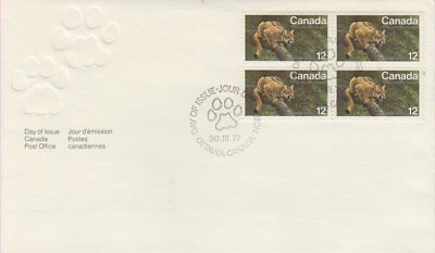 Canada #732 12¢ Eastern Cougar Block Of Four First Day Cover