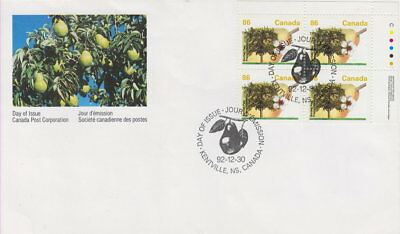 Canada #1372 86¢ Fruit Trees - Bartlett Pear Ur Plate Block First Day Cover