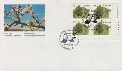 Canada #1369 69¢ Fruit Trees - Shagbark Hickory Lr Plate Block First Day Cover