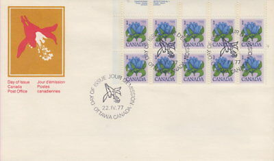 Canada #705 1¢ Bottle Gentian Ul Plate Block First Day Cover