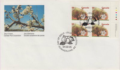 Canada #1365 50¢ Fruit Trees - Snow Apple Ur Plate Block First Day Cover