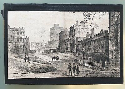 Original Herbert Railton The Lower Ward Windsor Castle 1885 Etching Cut Sized