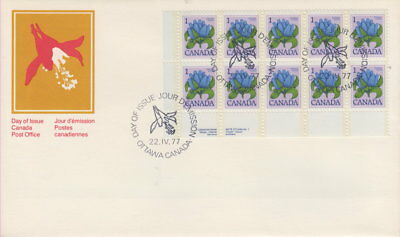 Canada #705 1¢ Bottle Gentian Ll Plate Block First Day Cover