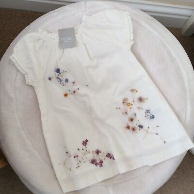 NEXT baby girl's cream embroidered tunic dress new size 9-12 months