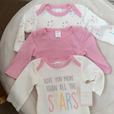 Modern Baby three pack of baby girl long sleeve body suits 6-9 months pink/cream
