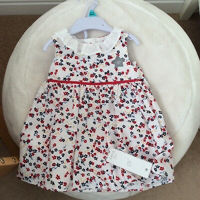 F&F baby girl's sleeveless dress and knicker set white/red floral print NEW
