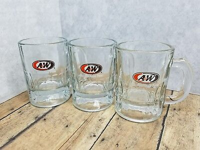 A&W Mini Glasses Lot of 3 Collectible Mini Root Beer Tasting Steins