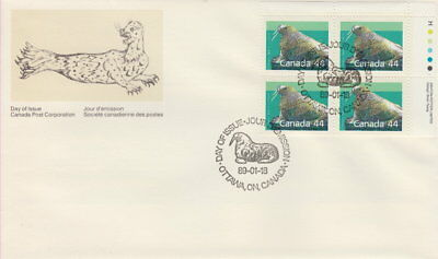 Canada #1171 44¢ Mammaldefinitives Ur Plate Block First Day Cover