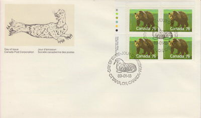 Canada #1178 76¢ Mammal Definitives-Grizzly Bear Ul Plate Block First Day Cover