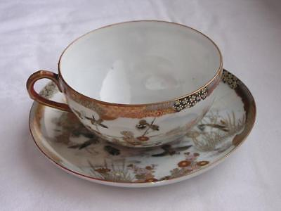 Antique Japanese Kutani cup and saucer marked Oda 1900-12 handpainted #4432