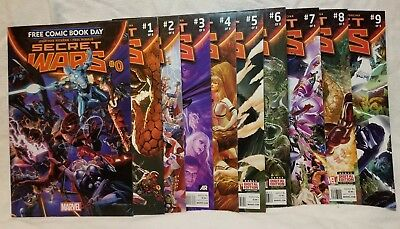 Secret Wars #0, 1-9 (2015 2016 Marvel) Avengers Fantastic Four 10 lot Comic Book