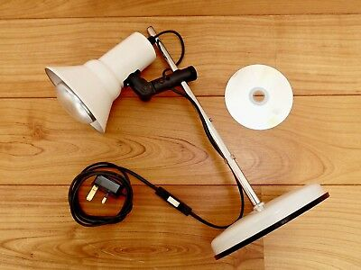 70's/80's DANISH DESK LAMP, Vintage CHROME & WHITE METAL, Retro TASK TABLE LIGHT