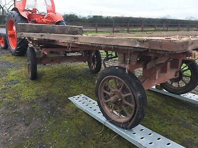 Vintage Four Wheel Drawbar Trailer/Dray/Hay Cart living van Shepards hut chassis