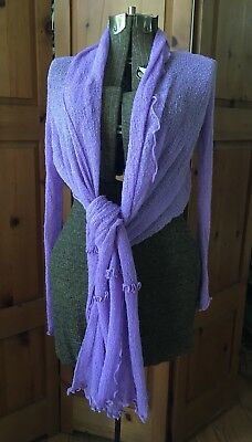 Hilltribe Purple Knit Long Sleeve Swimsuit Cover Up Top Tie Up