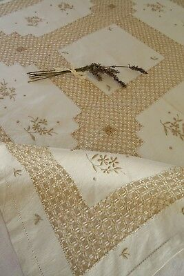Vintage Hand Embroidered  Linen Tablecloth  Hand Drawn Thread