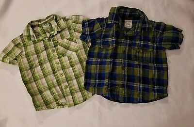 Boys Lot of 2 Button Down Tops Short Sleeves 18 months Okie dokie Old Navy GUC