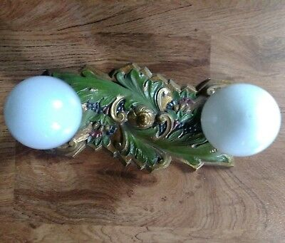 Antique Art Deco / Victorian Cast Brass Ornate Flush Mount 2 Bulb Light Fixture