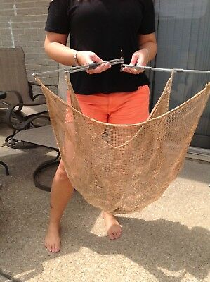 """Old Vintage Fishing Minnow Net  28""""X36"""" Authentic Netting Crab Lobster Trap"""