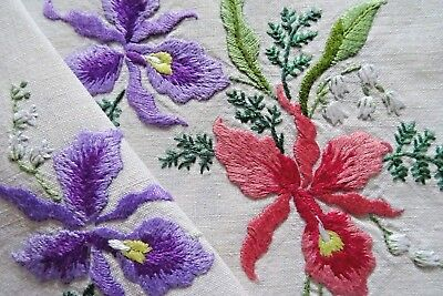 Stunning Vtg Hand Embroidered Linen Tray Cloth ~ Orchids Lily Of The Valley