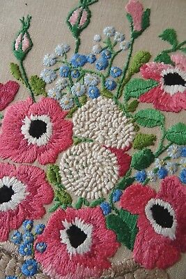 Gorgeous Vintage Hand Embroidered Irish Linen Picture Panel ~ Florals