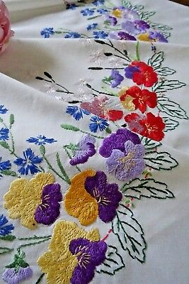 Vintage Hand Embroidered Tablecloth ~ Pansies And Cornflowers