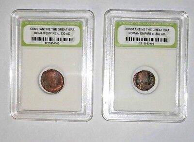2-Slabbed Ancient Imperial Roman Constantine the Great Era Coins - c 330 AD