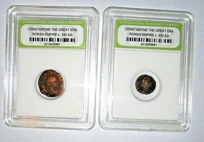 2 Slabbed Ancient Imperial Roman Constantine the Great Era - Nice Coins c 330 AD