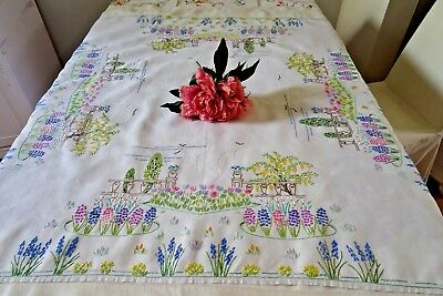 Spectacular Vintage Hand Embroidered Linen Tablecloth ~ Stately Gardens