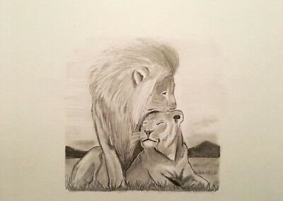 sketch drawing, Original Artwork, Lion And His Lioness, Pencil Sketch, A4, Gift