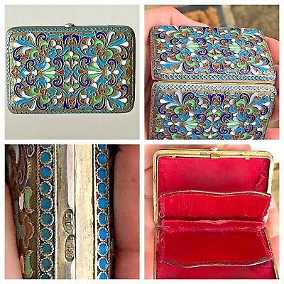 Superb Early 20th C Imperial Russian Moscow Silver Cloisonne Enamel Purse