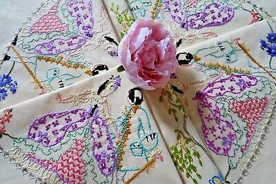 Beautiful Vintage Hand Embroidered Tablecloth ~ Crinoline Lady And Beau